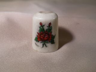 Scrimshaw Deer Antler Thimble Red Roses photo