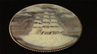 Vintage Sailors Carved Stone Belt Buckle Nautical Maritime Clipper Sailing Ship photo