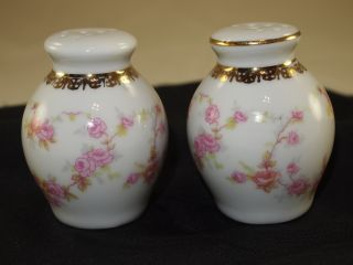 Antique Hand Painted Pink Roses Gingerjar Salt & Pepper Shakers photo