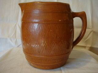 Antique - Vintage Brown Stoneware Water Or Milk Pitcher photo