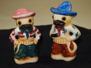 Antique Mr & Mrs Dressed Up Cowboy Donald Duck Salt & Pepper Shaker photo