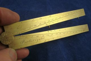 Fabulous Antique French Brass Sector Rule 17/18th Century photo