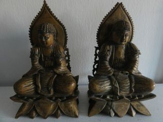 Pair Chinese Wood Carved Buddhas photo