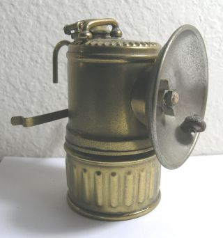 Antique Justrite Carbide Lamp Light Brass Pat 1919 Usa photo