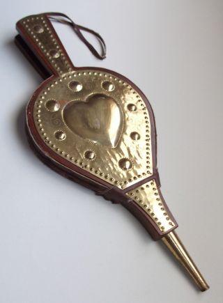 Handmade Antique Wood,  Brass,  Leather Sweden Hobnail Heart Fireplace Bellows photo