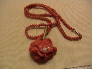 Antique Real Carved Coral Pearl & 9ct Gold Pendant & Coral Necklace Grand Tour? photo