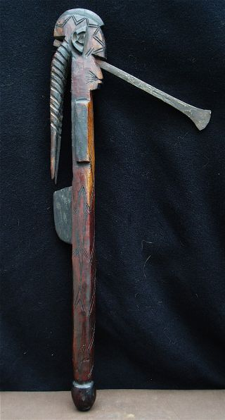 Very Rare Carved African Afo Tribal Staff 1920s To 1940s photo