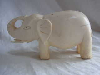 Antique Carved African Tribal Faux Ivory Elephant Figure photo