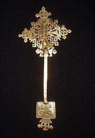 African Tribal Brass Hand Held Processional Cross Ethiopia Ethnocraphic Art photo