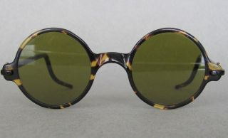 Antique Ca1890 Faux Tortoise Shell Sunglasses Round Frames Steampunk Bakelite photo