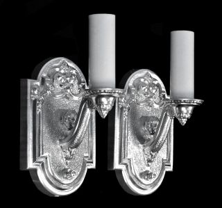 Antique Wall Sconces Nickel Silver Vintage Empire Art Deco Restored Wall Lights photo