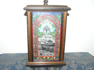 Antique Stained Glass Table Lamp In Wooden Frame. . photo
