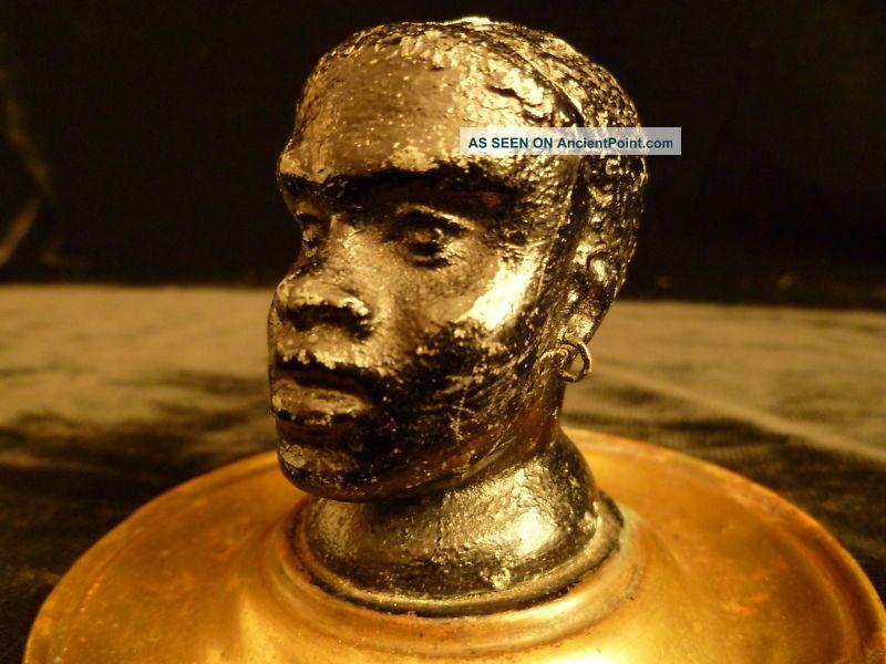 Rare 19th Century Black Americana Slave Head Inkwell Sculptures & Statues photo