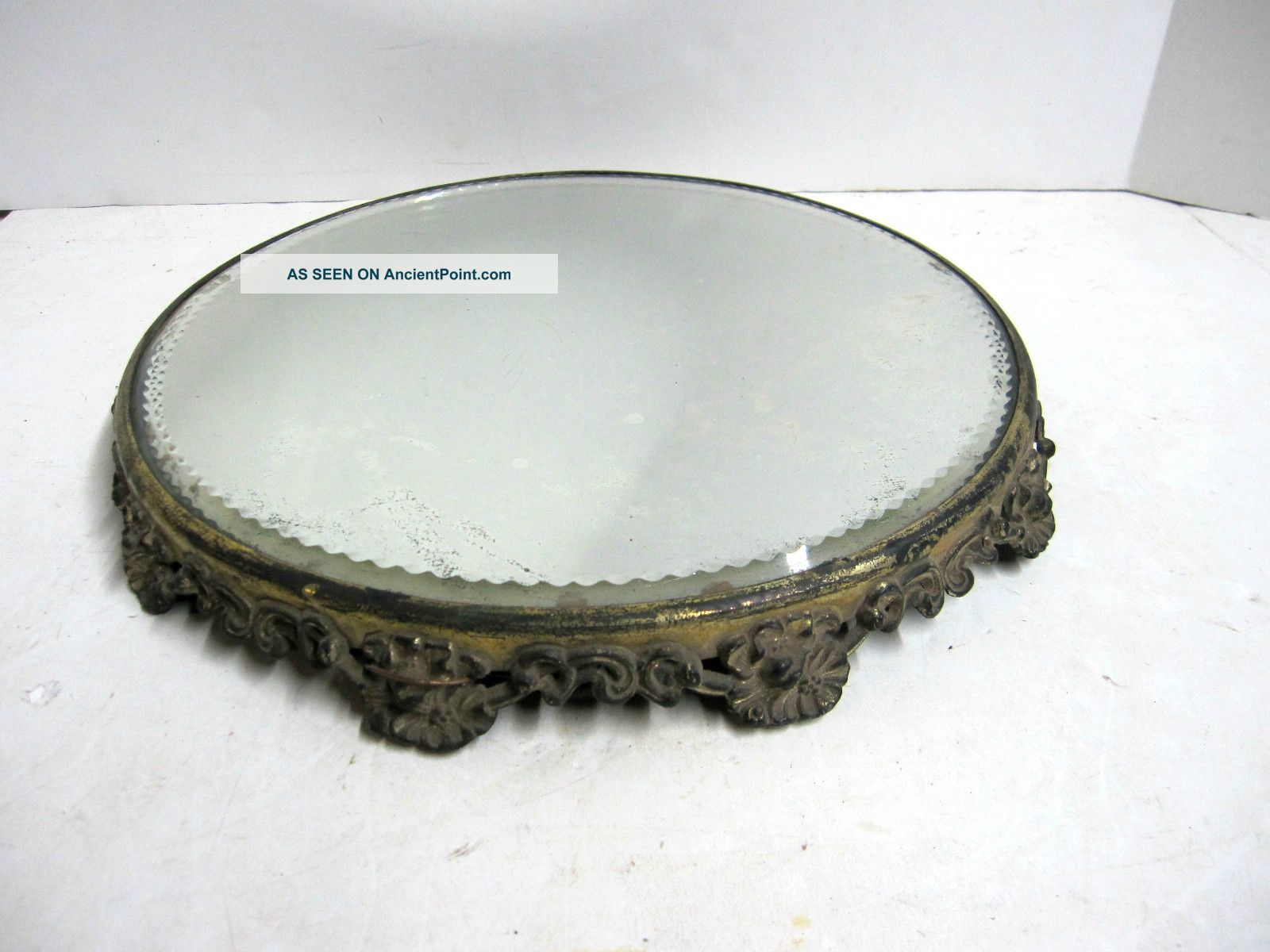 Antique Ornate Victorian Plateau Round Floral Footed