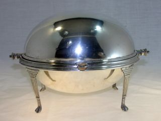 English Silverplate Revolving Dome Entree Server With Trays photo