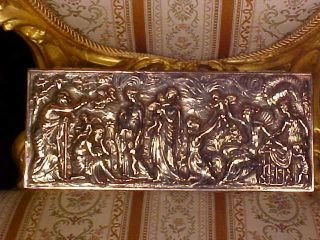 Gorgeous Antique Ornate Silver Footed Box Repousse Angels+ Great Detail photo