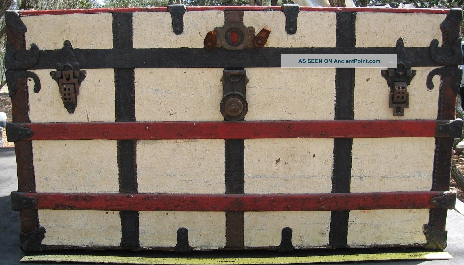 1900 ' S Antique Yale & Towne Steamer Trunk Chest W/ Wood Brass 1900-1950 photo