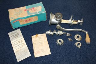 Vintage Universal Meat Grinder / Food Chopper.  Box / Receipt photo