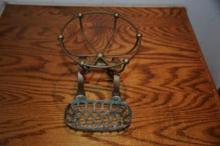 Antique Victorian Brass Soap Dish & Sponge Holder Claw Foot Bath Tub Bath Caddie photo