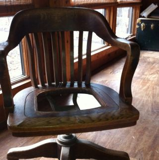 Antique Sikes Oak Swivel Desk Armchair,  On Wheels.  Local Pickup. photo