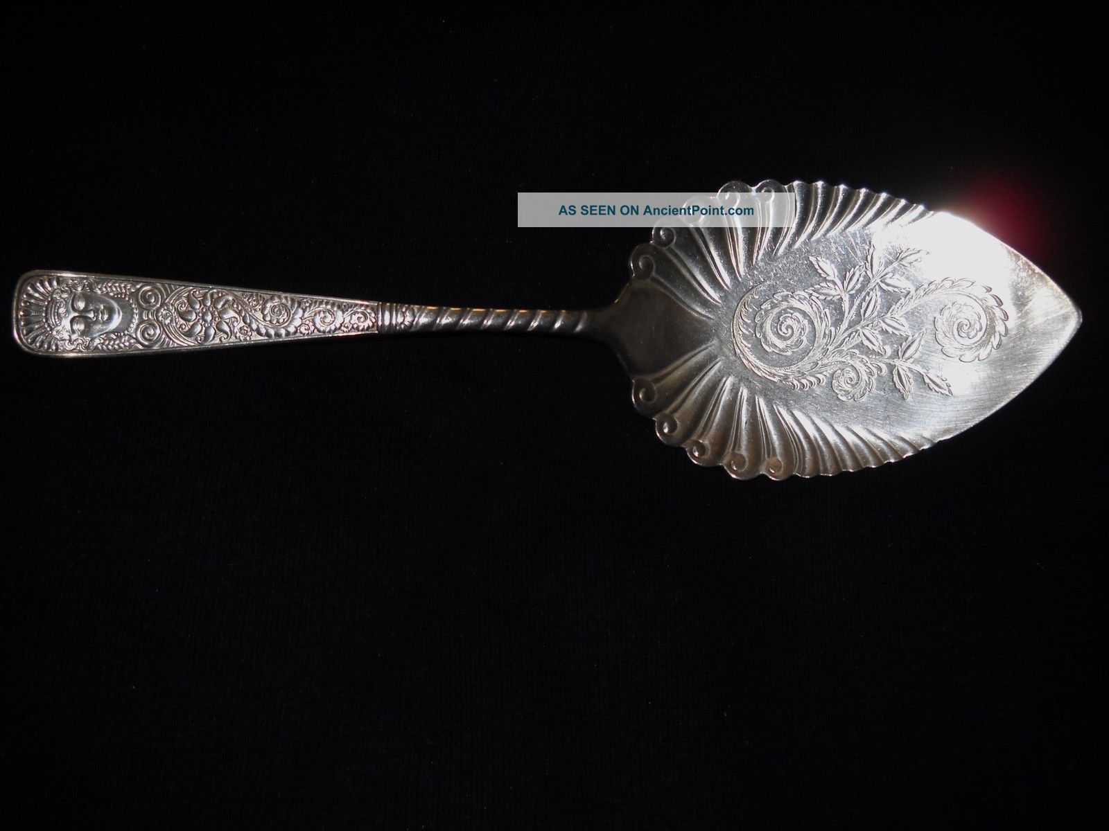 Victorian Assyrian Head Silverplate Cake Server/engraved Design/10
