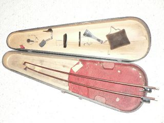 Vintage Violin Parts And 4/4 Bows In Old Wood 4/4 Case $9 Nr photo