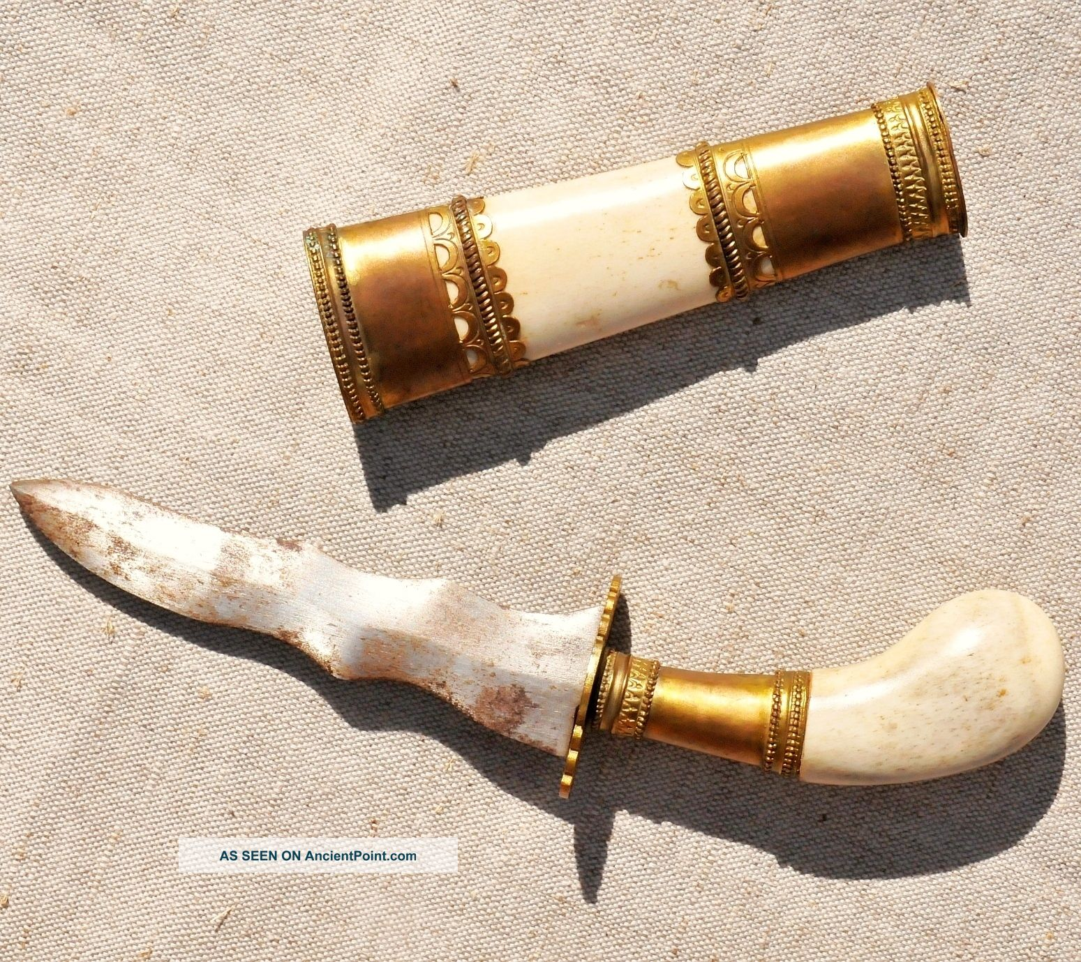 Presentation Dagger : Kris - Keris : Steel Bone & Bronze Knife With Bone Sheath Near Eastern photo