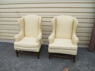 51651 Pair Henredon ?? Wing Chair S Armchair S With Slip Covers photo