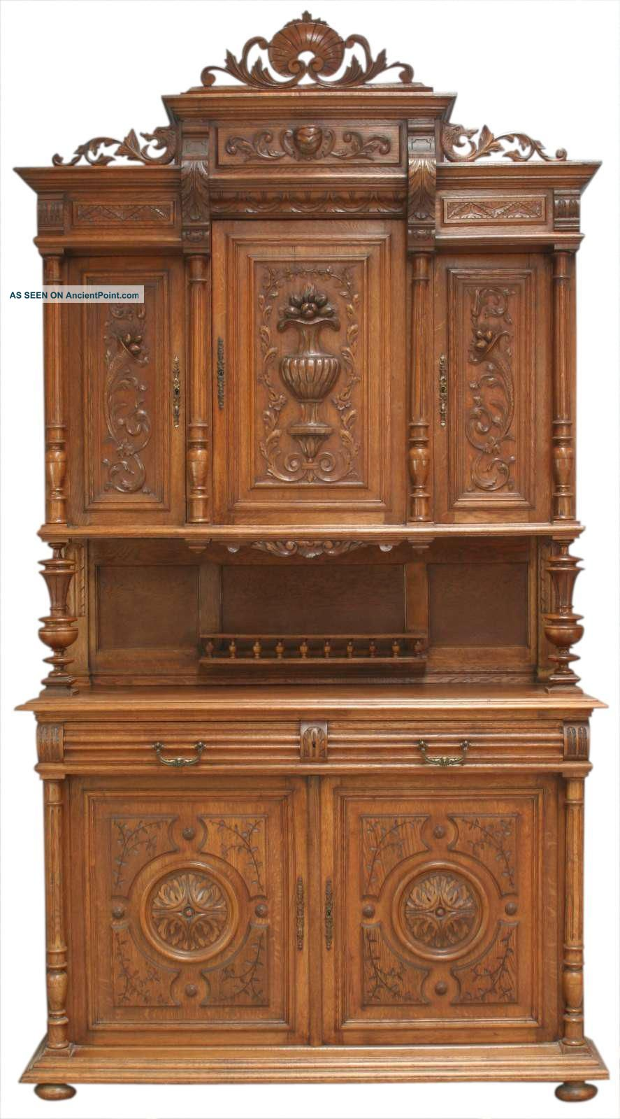 Great Antique French Highly Carved Oak Renaissance Henry Ii Buffet Server 1900-1950 photo