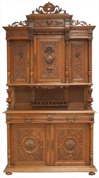 Great Antique French Highly Carved Oak Renaissance Henry Ii Buffet Server photo