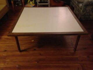 Mid Century Walnut With Inlaid Brass And Formica Top Coffee Table - Knoll? photo
