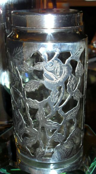 Antique Sterling Silver Overlay Chased Roses Kitchen Or Vanity Jar Bottle photo