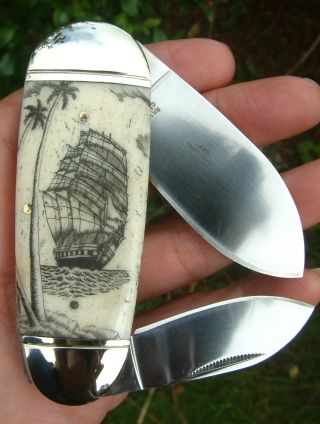 Nautical Scrimshaw,  Tall Ship,  Palm Trees,  2 Blade Folding Knife/knives photo