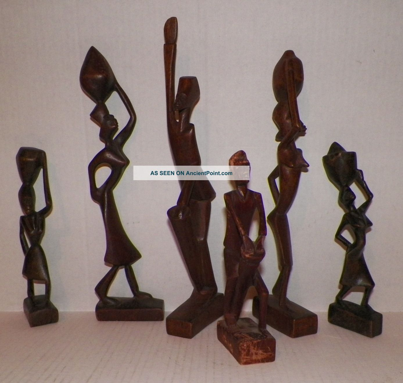 Vintage Six African Wood Hand Carved Folk Art Figurines Sculptures & Statues photo