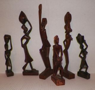 Vintage Six African Wood Hand Carved Folk Art Figurines photo