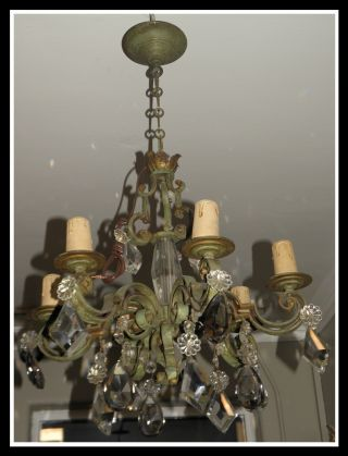 Unusual Antique French Deco Bronze & Crystal Chandelier Fixture Nr photo
