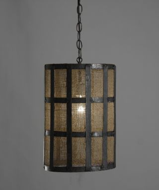 Chic Shabby Medieval Burlap/metal Hanging Light,  10  Diam X 15  Tall. photo