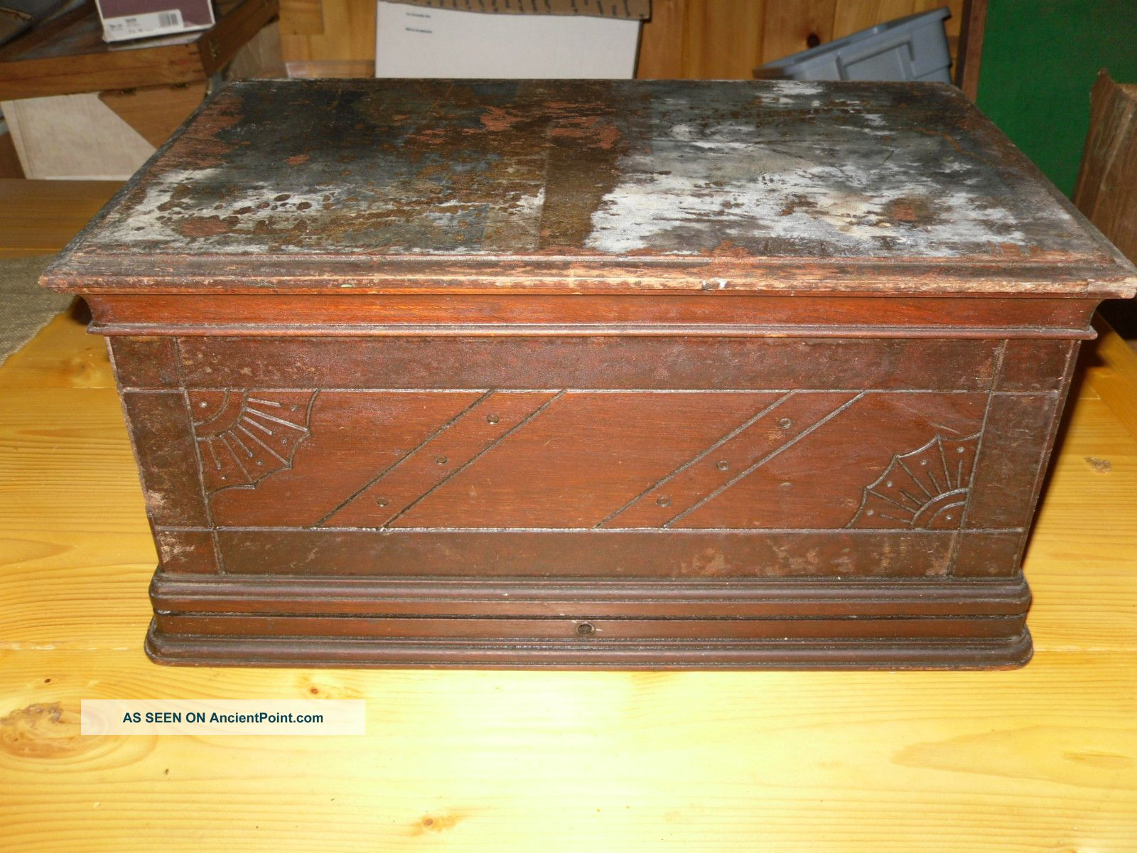 Antique Treadle Sewing Machine Cherry Cabinet Coffin Cover Top Sewing Machines photo