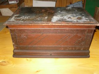 Antique Treadle Sewing Machine Cherry Cabinet Coffin Cover Top photo