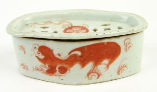 Antique Polychrome Chinese Porcelain Cricket Cage Or Box With Dragon photo
