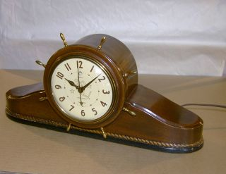 Vintage 1940 ' S Telechron Clock Ship ' S Bell 6b17 Resolute Ship Bells Mahogany photo
