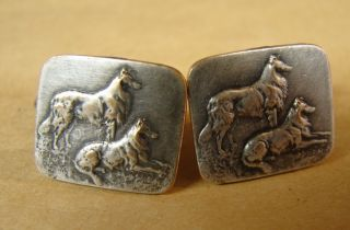 P20.  Old And Silver Plated Cufflinks.  Decorated With Two Dogs Lassie photo