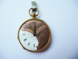 Antique Gilt Cased Pedometer,  Patent,  White Enamel Dial,  For Repair Or Spares. photo