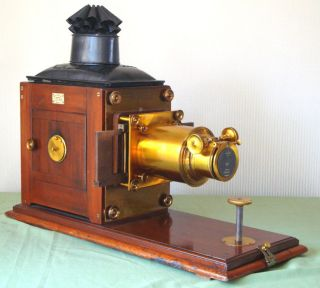 Large 19thc Mahogany & Brass Magic Lantern By Newton & Co Complete & Working photo