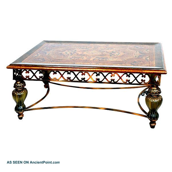 Mediterranean Designer Coffee Cocktail Table Muted Acrylic Iron & Wood New Frshp Unknown photo