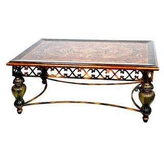 Mediterranean Designer Coffee Cocktail Table Muted Acrylic Iron & Wood New Frshp photo