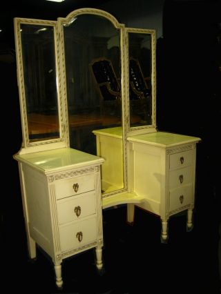 Vintage French Country Cottage 4 Piece Bedroom Set Dresser Vanity Chic Shabby photo