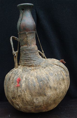 Large Afrcian Water / Milk Container 1940s Calabash Gourd photo