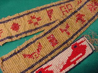 Antique Native American Glass Beaded Symbols Tribe Beadwork 20