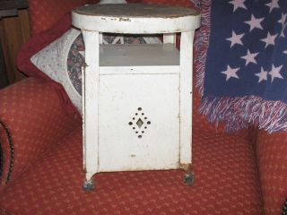 Antique Metal Step Stool,  Ivory Paint,  Kitchen,  Side Door,  Old Rubber Cups, photo
